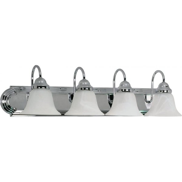 "Nuvo Lighting 60/318 Ballerina 4-Light 30"" Wide Bathroom Vanity Light with Frosted Glass Shades - Polished chrome"
