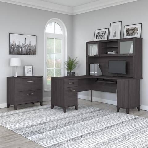 Copper Grove Shumen L-shaped Desk with Hutch and File Cabinet
