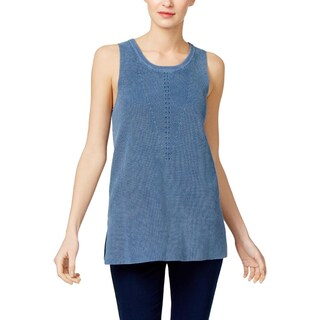 Two by Vince Camuto Womens Tank Top Sweater Sleeveless Ribbed (Option: shibori navy - L)