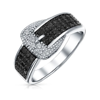 Bling Jewelry Sterling Silver CZ Pave Black and White Belt Buckle Ring