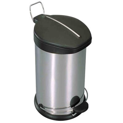 Home Basics Silver 30 Liter Stainless Steel with Plastic Top Waste Bin