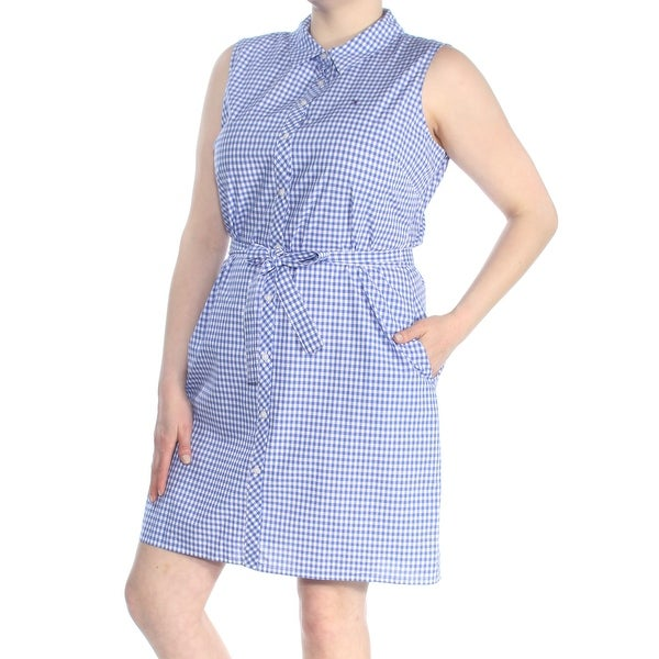 91f9310c01af3 TOMMY HILFIGER Womens Blue Check Shirt Dress Evening Dress Size: 16
