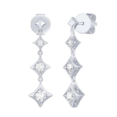 Lab Grown Diamond Dangling Stud Earrings, 1/3 ctw 14K Solid Gold by Smiling Rocks