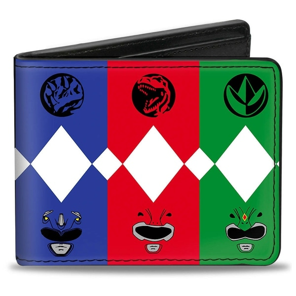Power Ranger Animal Logo Face Panels Multi Color Bi Fold Wallet - One Size Fits most