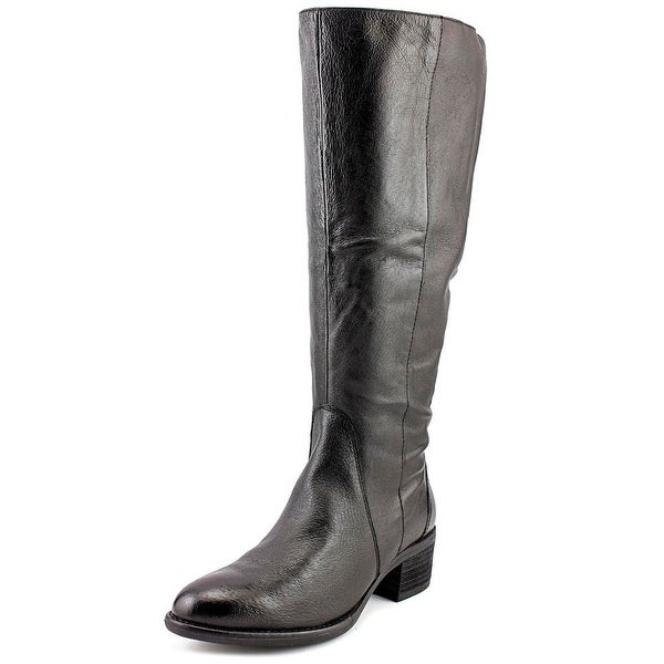 Steve Madden Lace Up Wide Calf Women Round Toe Synthetic Black Knee High Boot