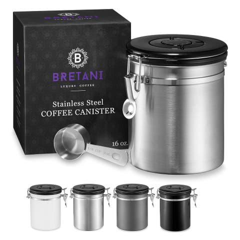 Steel Coffee Canister & Scoop Set (16oz.) by Bretani