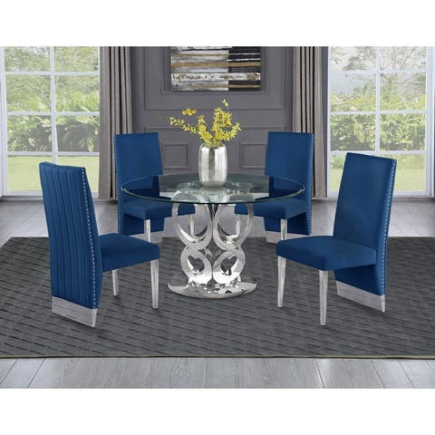 Best Quality Furniture Glass Round 5pc Dining Set with Pleated Chairs