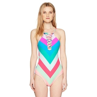 Hobie Junior's Island Vibin Stripe One Piece Swimsuit,, Multi, Size Medium