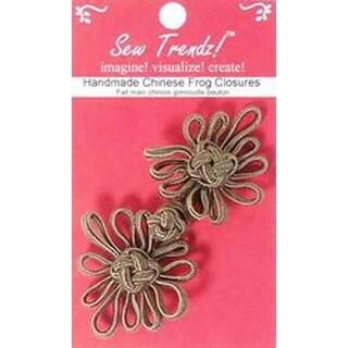 """Dark Taupe Angel Flower - Handmade Chinese Frog Closure 4""""X2"""" 1/Pkg"""