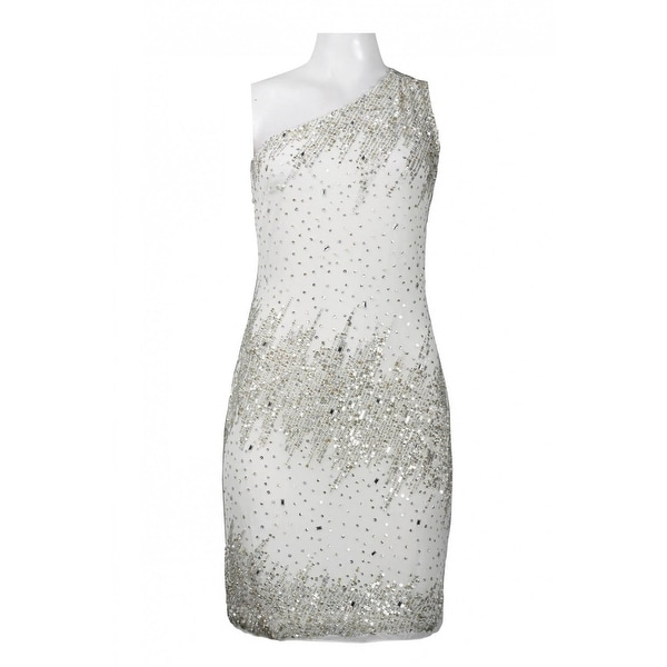 Adrianna Papell One Shoulder Pattern Sequin Mesh Sheath Dress