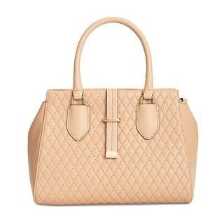 Calvin Klein Womens Selna Satchel Handbag Leather Quilted - nude - MEDIUM