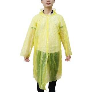 Travel Yellow One Size Disposable Button Closure Raincoat Rain Poncho for Adult