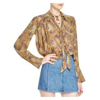 Free People Womens Modern Muse Button-Down Top Oversized Hi-Low