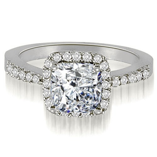 1.00 cttw. 14K White Gold Cushion And Round Shape Halo Diamond Engagement Ring