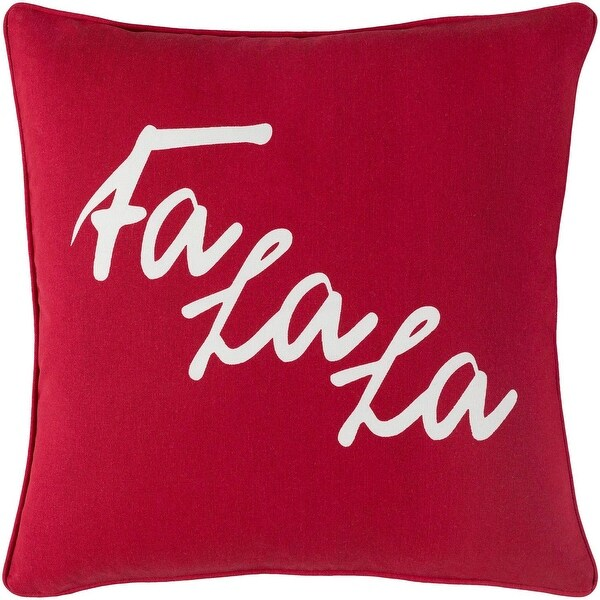 """18"""" Red and White Printed Design Woven Square Throw Pillow - Down Filler"""