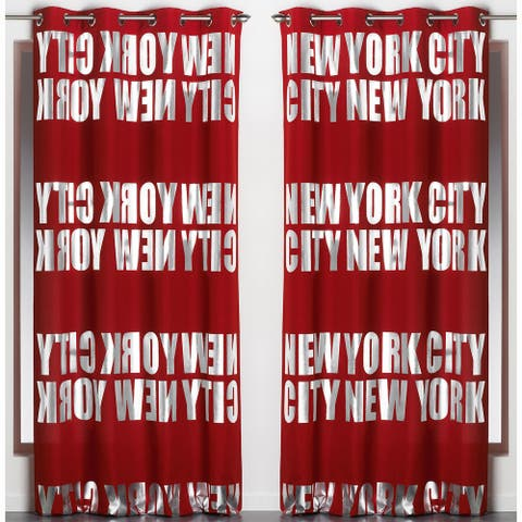 Set of 2 Blackouts Window Curtain Panel NEW YORK CITY with Grommets