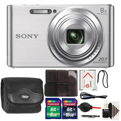 Sony DSC-W830 20.1MP Point and Shoot Digital Camera (Silver) + 32GB Memory Card Kit