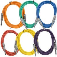 "SEISMIC AUDIO  6 PACK Colored 1/4"" TS 6' Patch Cables - Guitar - Instrument"