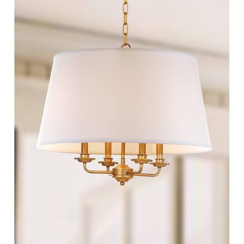 "Safavieh Lighting Kimball Adjustable 4-light Gold/ White Pendant - 22""x22""x23-93"""