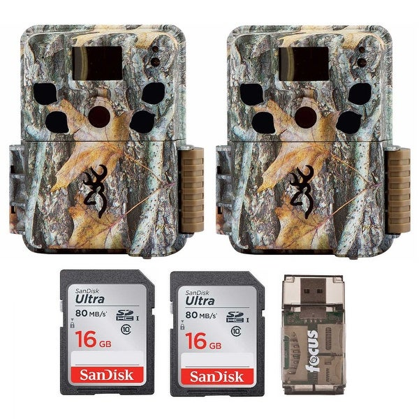Browning Dark Ops HD Trail Camera (Camo, 2) with 16GB Memory Card (2) and Reader - Camouflage