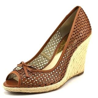 Michael Michael Kors Olivia Wedge Women Open Toe Leather Brown Wedge Heel