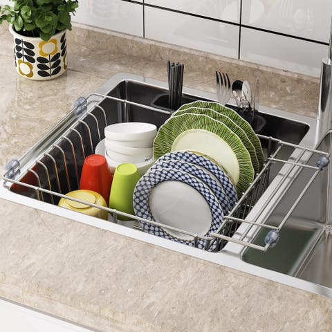Stainless Steel Dish Drying Rack Over Kitchen Sink