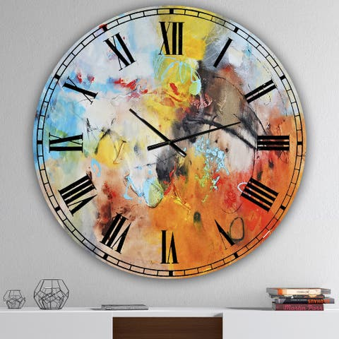 Designart 'Blue And Yellow Color Spatters II' Large Modern Wall Clock