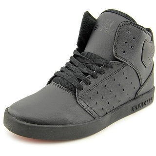 Supra Kids Atom Youth Round Toe Leather Black Sneakers