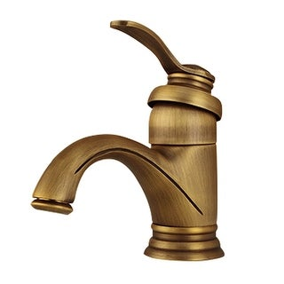 Bathroom Single Hole Sink Faucet Antique Brass