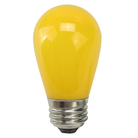 Pack of 25 Opaque Yellow LED S14 Christmas Replacement Light Bulbs - 1.3 Watts