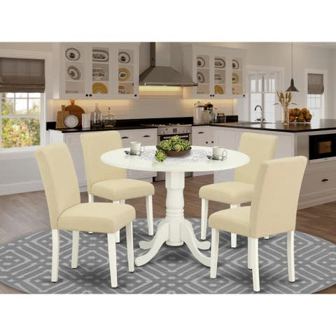 Dinette Table Set Contain Dining Table and Parson Dining Chairs Linen Fabric - Linen White Finish (Pieces Option)