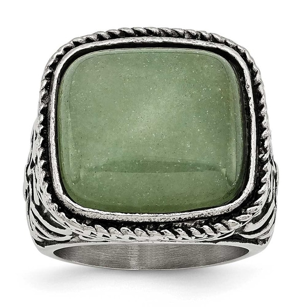 Chisel Stainless Steel Antiqued/Polished Chalcedony Aventurine Ring
