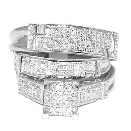 White Gold Trio Wedding Set Mens Women Rings Real 1/2cttw Diamonds Pave(I/j Color 0.5cttw)