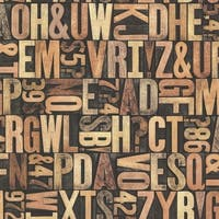 Brewster 2604-21250 Letterpress Sand Typography Wallpaper - N/A