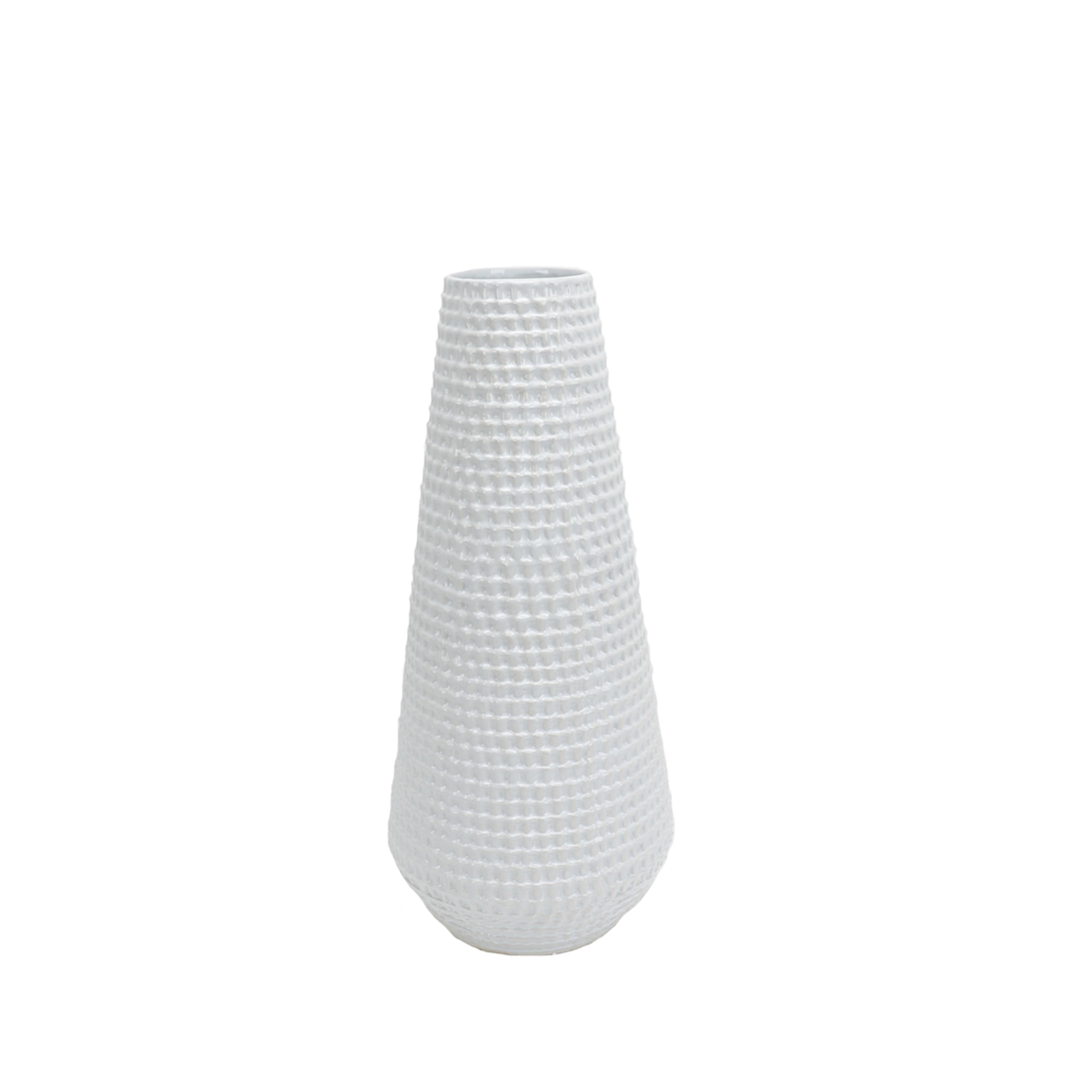 Rope Textured Ceramic Vase with Tapered Bottom, Large, White