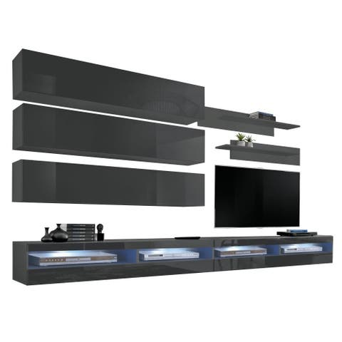 Fly J 35TV Wall Mounted Floating Modern Entertainment Center