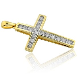 Gold Cross With Diamonds Mens 10k Yellow Gold 1/2ctw Round Diamonds 1.25 inch(i2/i3, I/j) By MidwestJewellery - White