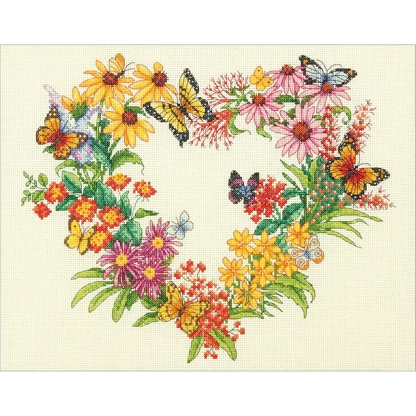 "Wildflower Wreath Counted Cross Stitch Kit-14""X11"" 14 Count"