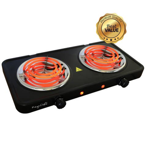 MegaChef Portable Double Burner Electric Coil Cooktop in Black