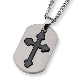 Chisel 2 Piece Brushed Titanium Cross Dogtag on 22 Inch Chain (2 mm) - 22 in
