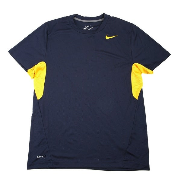 24a3248c922d Shop Nike Men s Vapor Navy Yellow Dri-FIT Tee Shirt - Large - Free Shipping  On Orders Over  45 - Overstock - 21293751