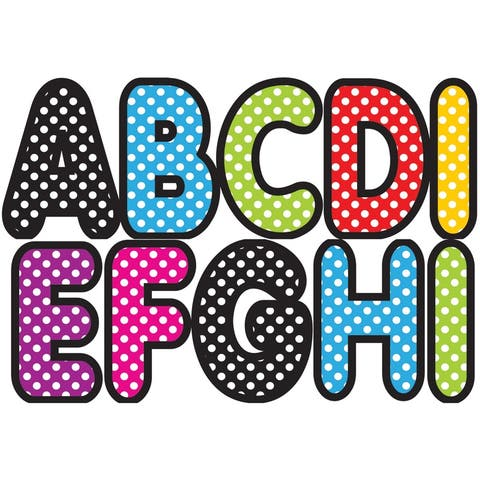 Assorted Color Polka Dot 2-3/4In Designer Magnetic Letters