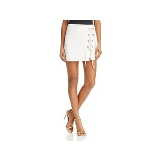 Alpha and Omega Womens Mini Skirt Lace-Up Night Out