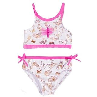 Penelope Mack Baby Girls White Fuchsia Butterfly Print 2 Pc Swimsuit