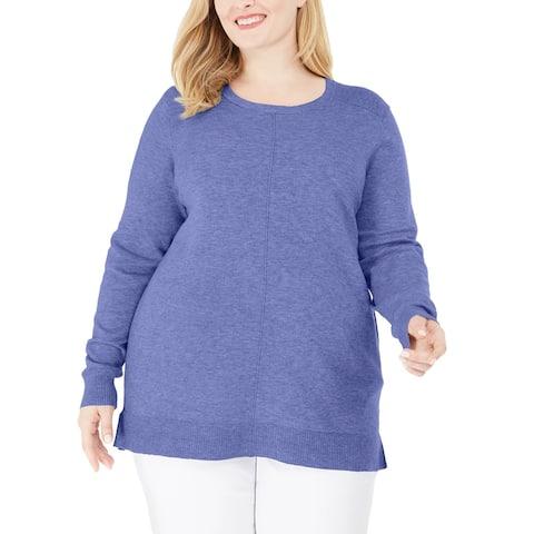 Karen Scott Women's Scoop Neck Seamed Sweater Grey Size 3X