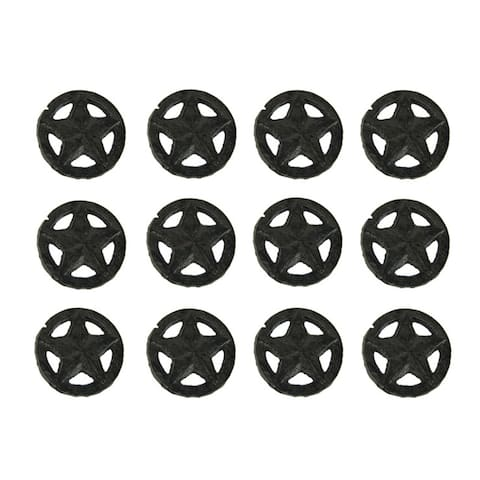 Set of 12 Rustic Brown Western Star Cast Iron Cabinet Knobs or Drawer Pulls - 1.88 X 1.88 X 1.25 inches