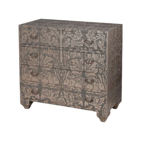 """36"""" Gray and Beige Hand Painted Acanthus with Lapin Art Design Chest"""