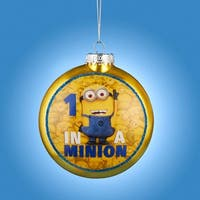 "3.25"" Yellow and Blue Despicable Me ""1 In A Minion"" Glass Disc Christmas Ornament"
