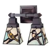 """Meyda Tiffany 98519 Backyard Friends 2-Light 12"""" Wide Bathroom Vanity Light with Tiffany Glass Shade - Mahogany Bronze"""
