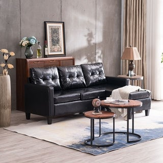 Modern PU Leather Sectional Sofa Couch L-Shaped Combination Sofa